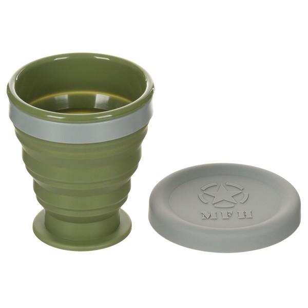 Kunststoff Faltbecher 200ml oliv mit Deckel
