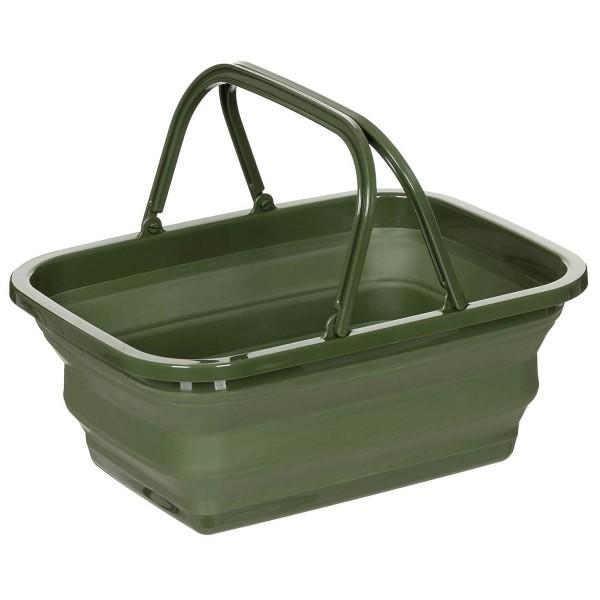 Camping Faltkorb und Waschschüssel 9 Liter oliv