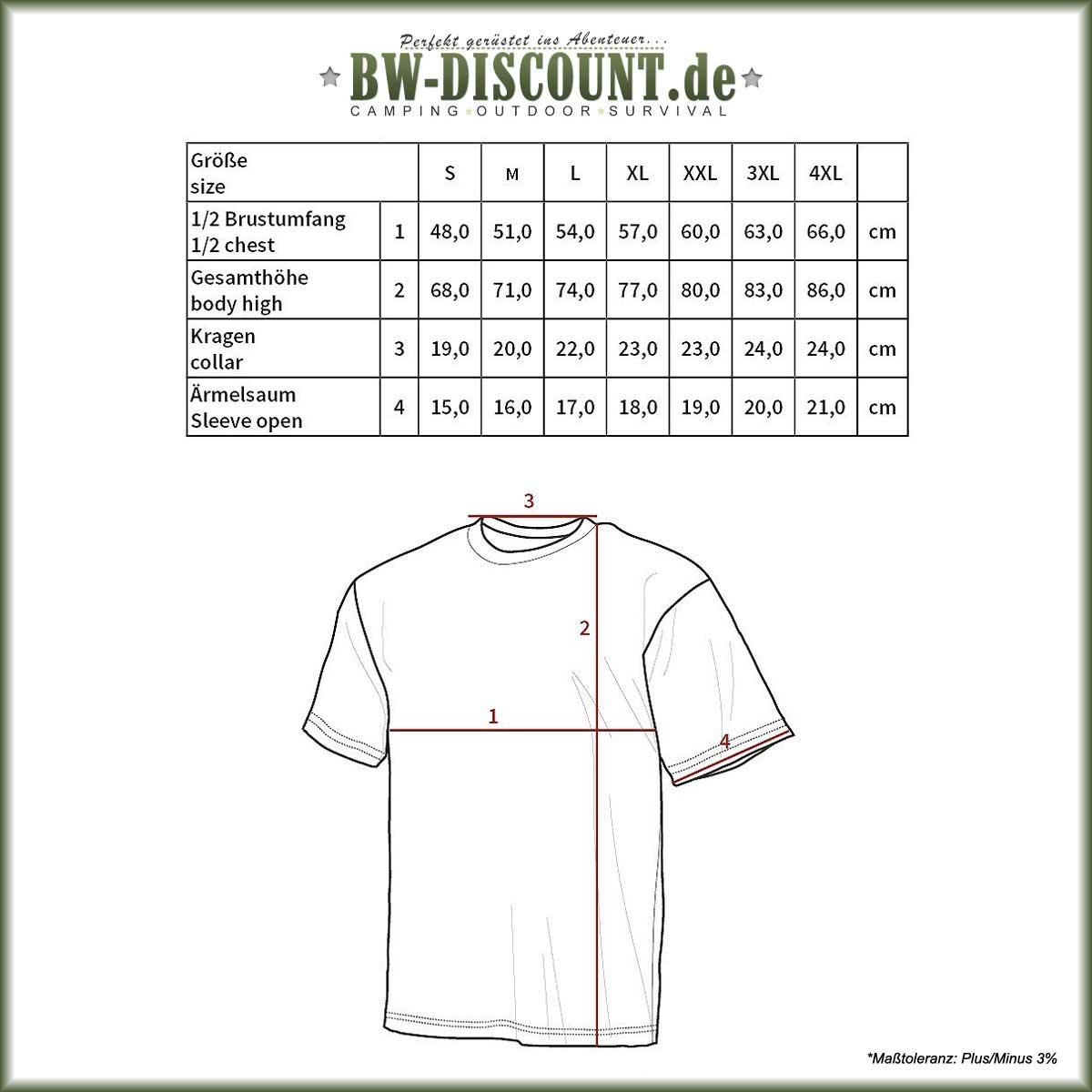 Größentabelle für US T-Shirt Streetstyle