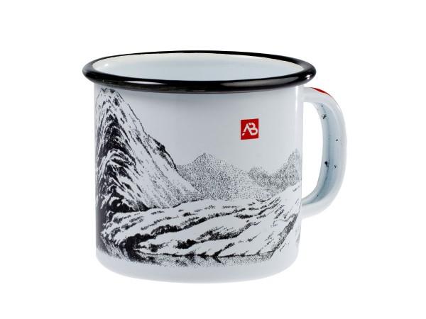 Emaille Tasse Berge weiss 350ml