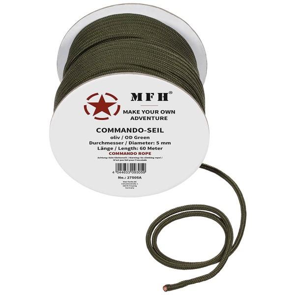 60m Seil 5mm oliv