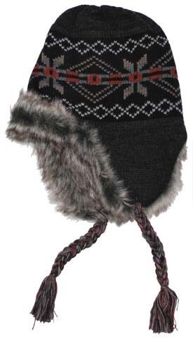 Wikinger Mütze Peru Puno schwarz-grau