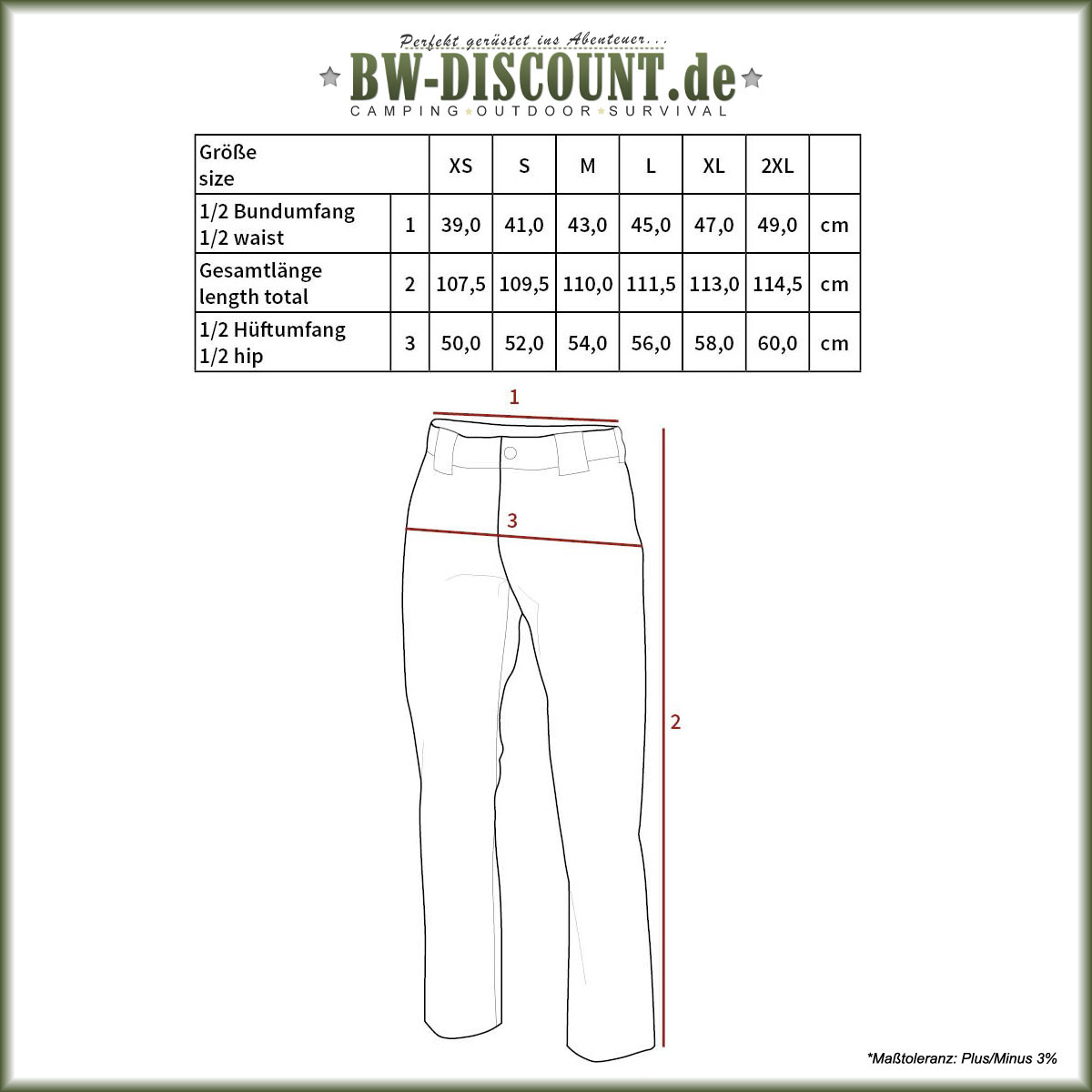 Größentabelle für Trekkinghose Rachel Stretch T-Zip Pant