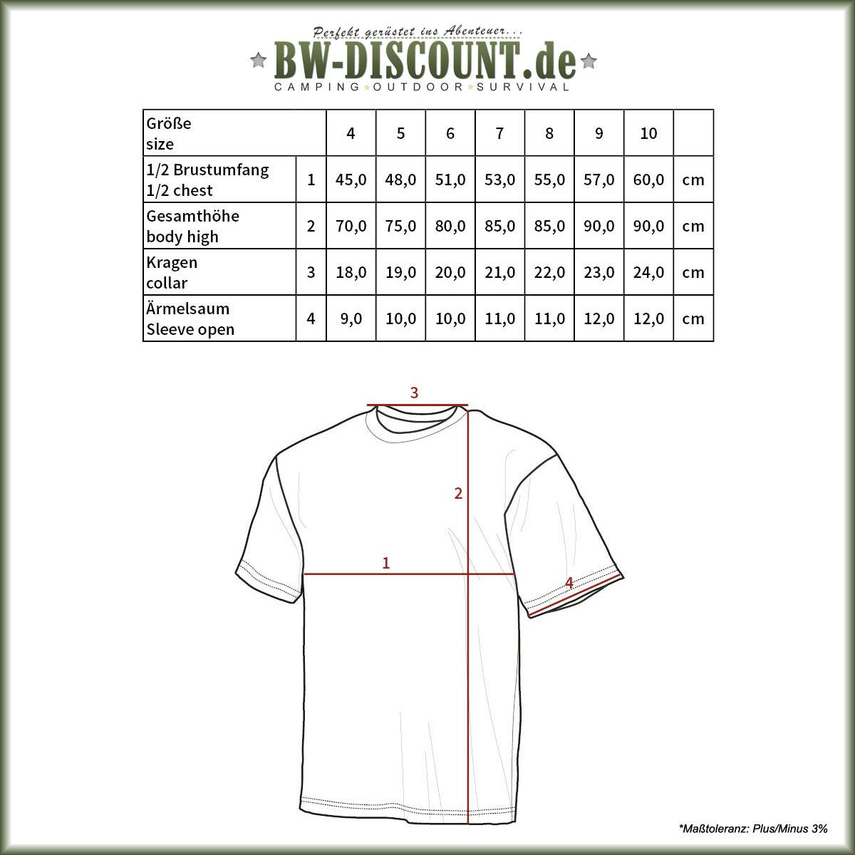 Größentabelle für Original Bundeswehr Unterhemd kurzarm