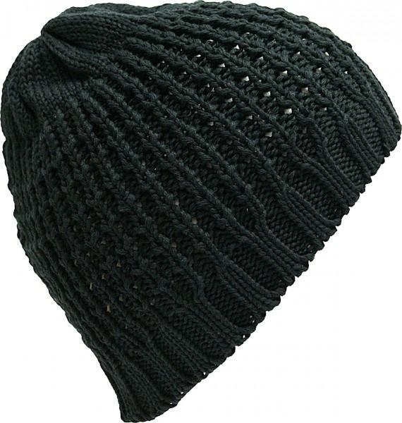 Beanie Strickmütze grob gestrickt schwarz
