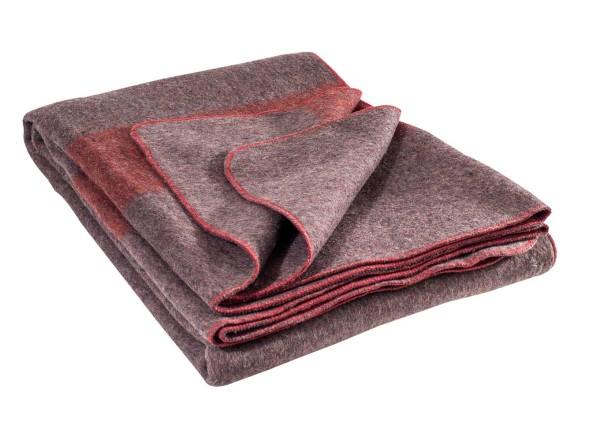 Schweizer Wolldecke 200x140cm grau/rot