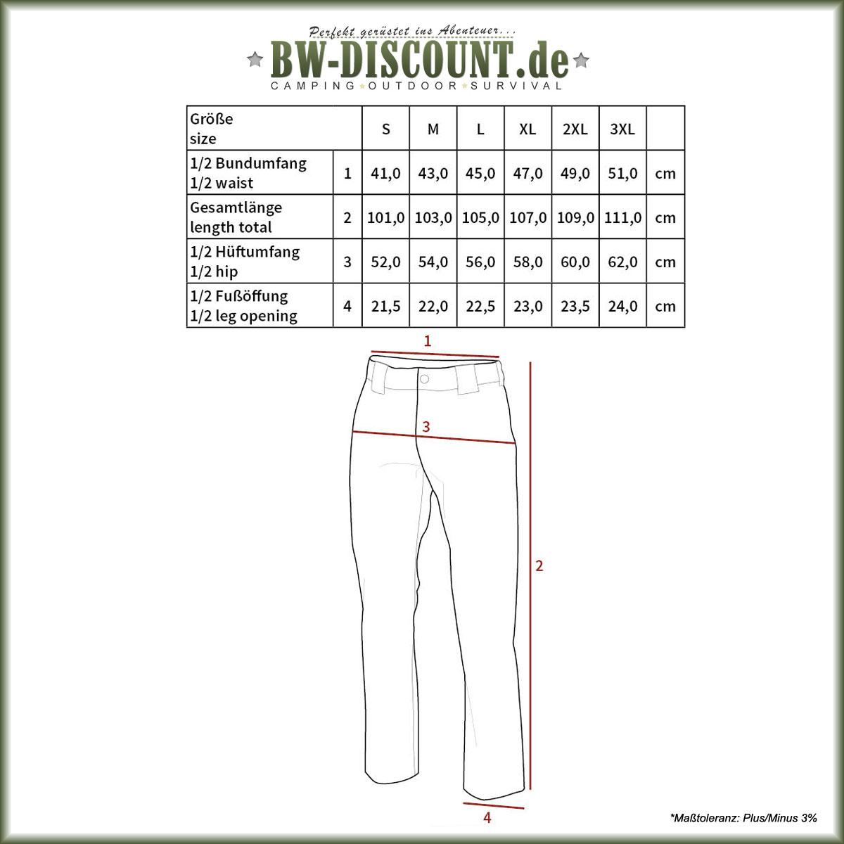 Größentabelle für Tactical Hose Stake mit Teflonbeschichtung