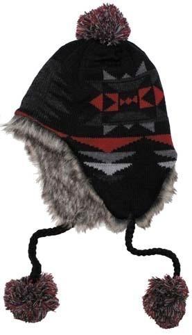 Norweger Mütze Peru Ica schwarz-rot