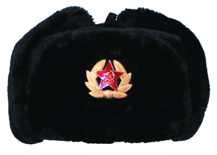 Russische Fellmütze mit Anstecker