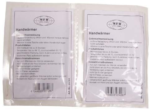 2 Stück Einmal Handwärmer-Kissen