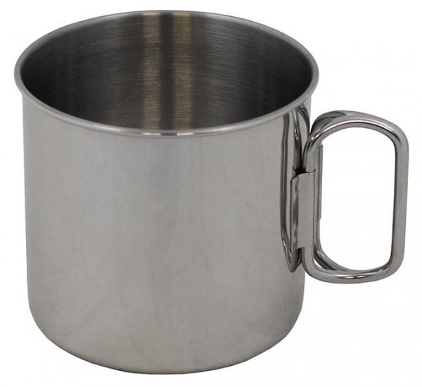 Edelstahl Tasse mit Klappgriff 450ml