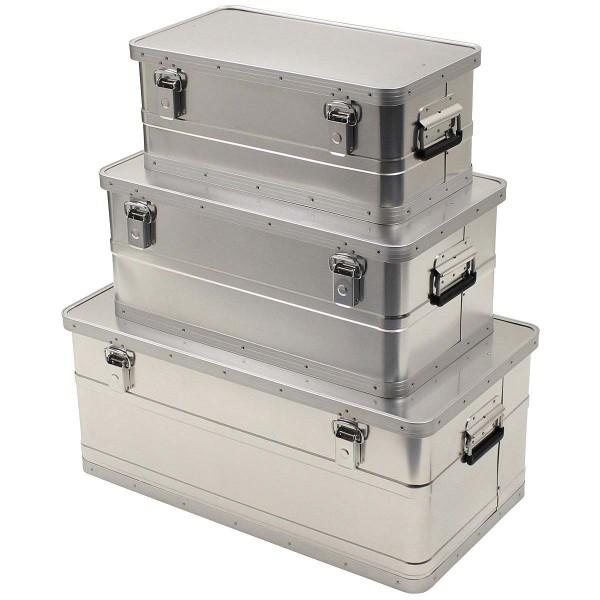 3er Set Aluminium Transportboxen mit Deckel