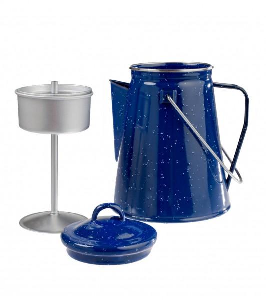 Emaille Kaffeekanne mit Perkolator 2 Liter blau