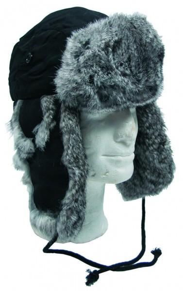 FOX Fellmütze grau-schwarz