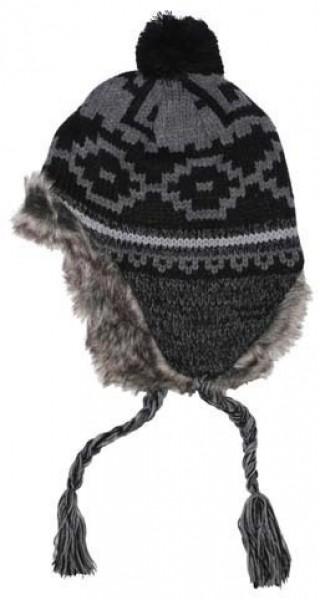 Norweger Mütze Peru Piura schwarz-grau