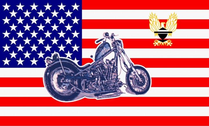 Flagge U.S.A. mit Bike