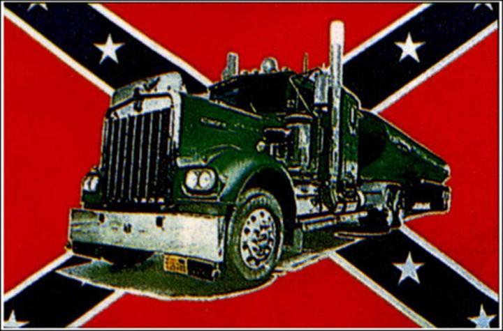 Flagge Südstaaten mit Truck