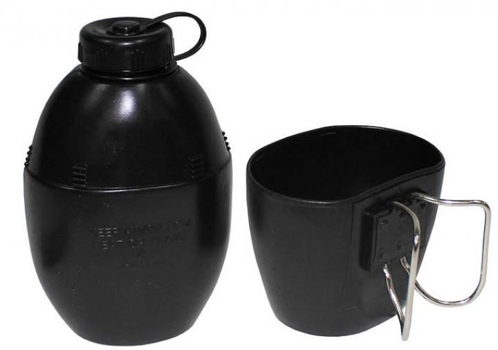 Britische Feldflasche mit Trinkbecher schwarz