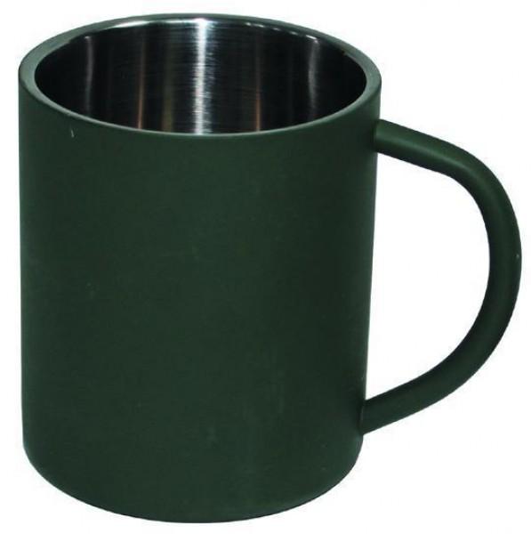 Edelstahl Tasse doppelwandig 450 ml oliv
