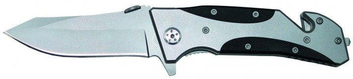 Einhand Messer mit Gurtschneider silber/schwarz
